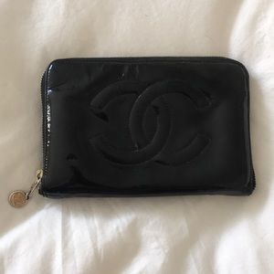 Authentic Chanel large zip around wallet